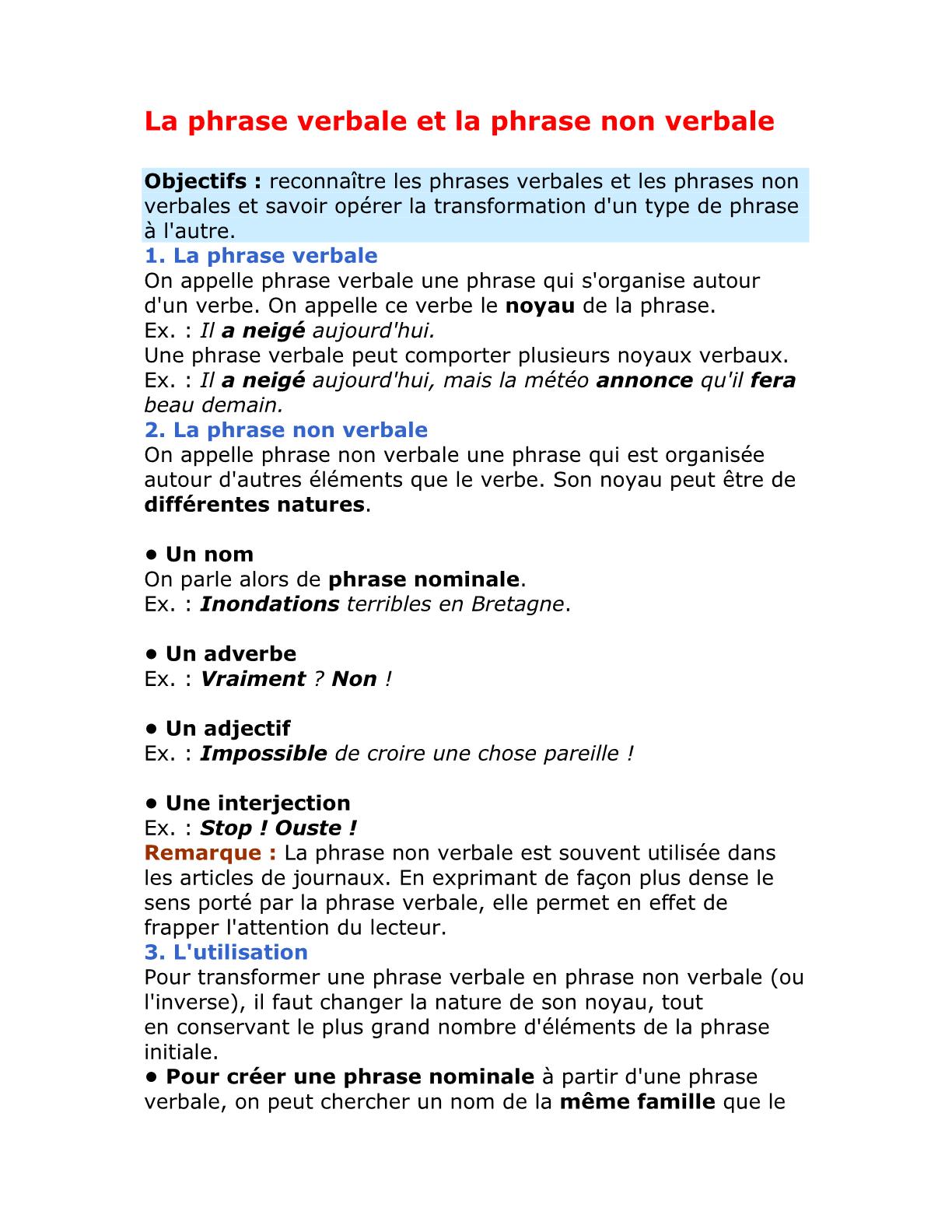 La phrase verbale et la phrase non verbale للسنة الأولى إعدادي