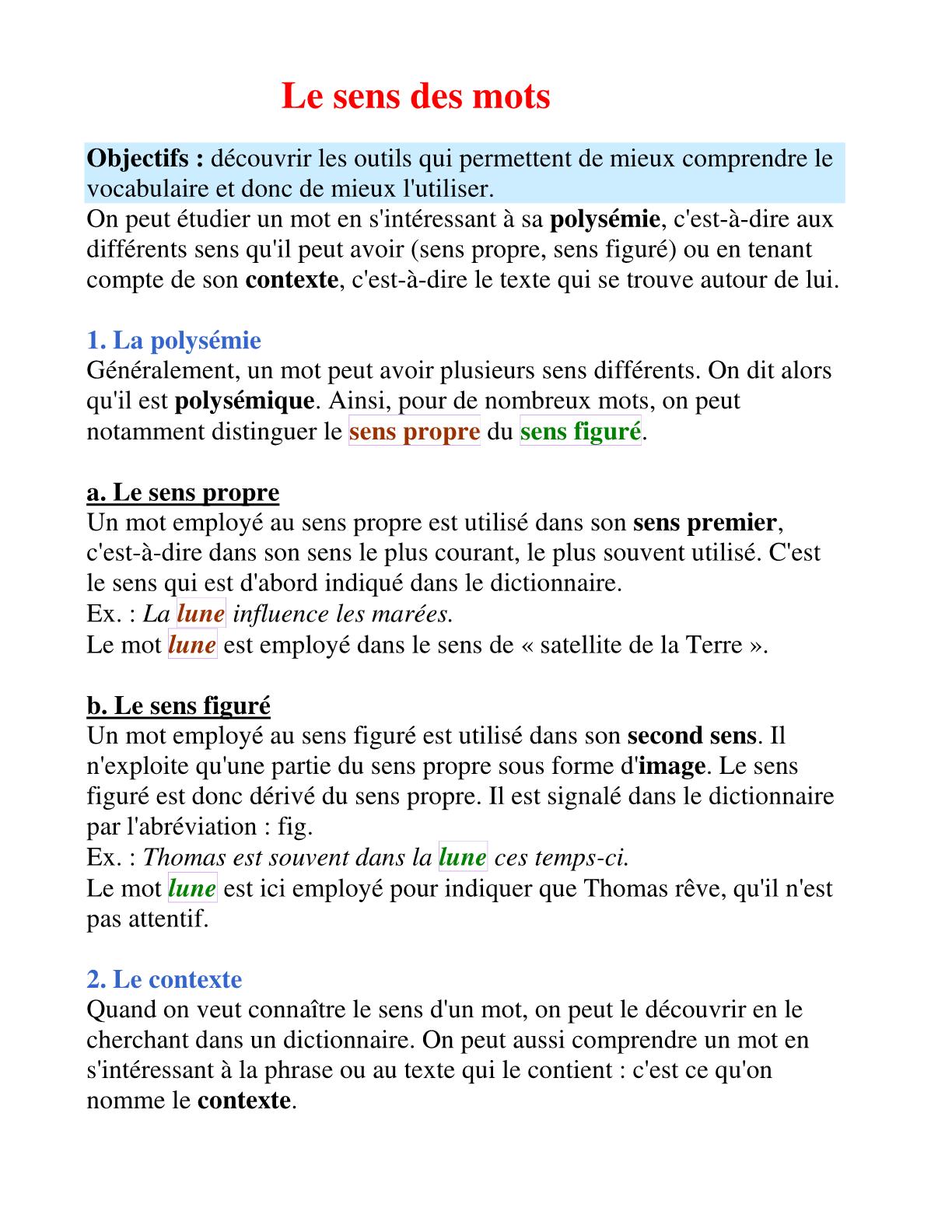 درس Le sens des mots للسنة الأولى إعدادي