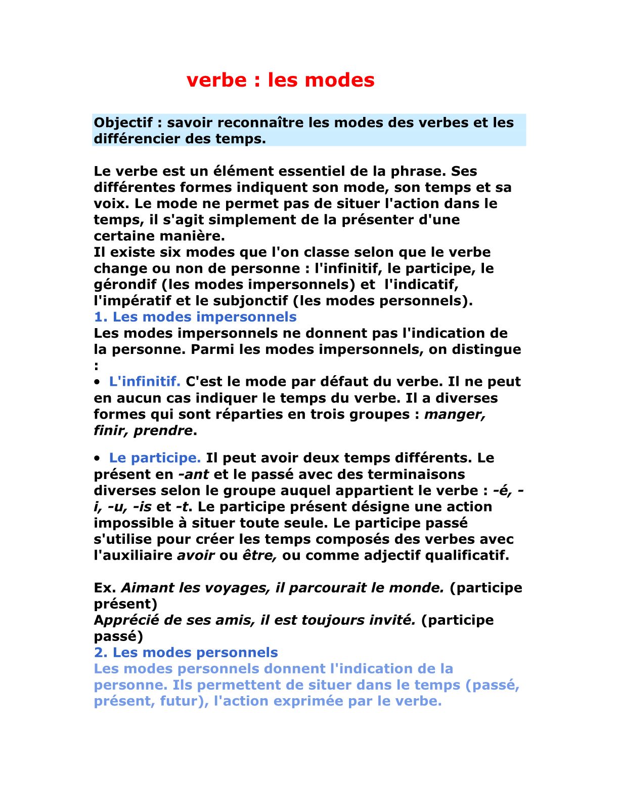 Le verbe: les modes للسنة الأولى إعدادي