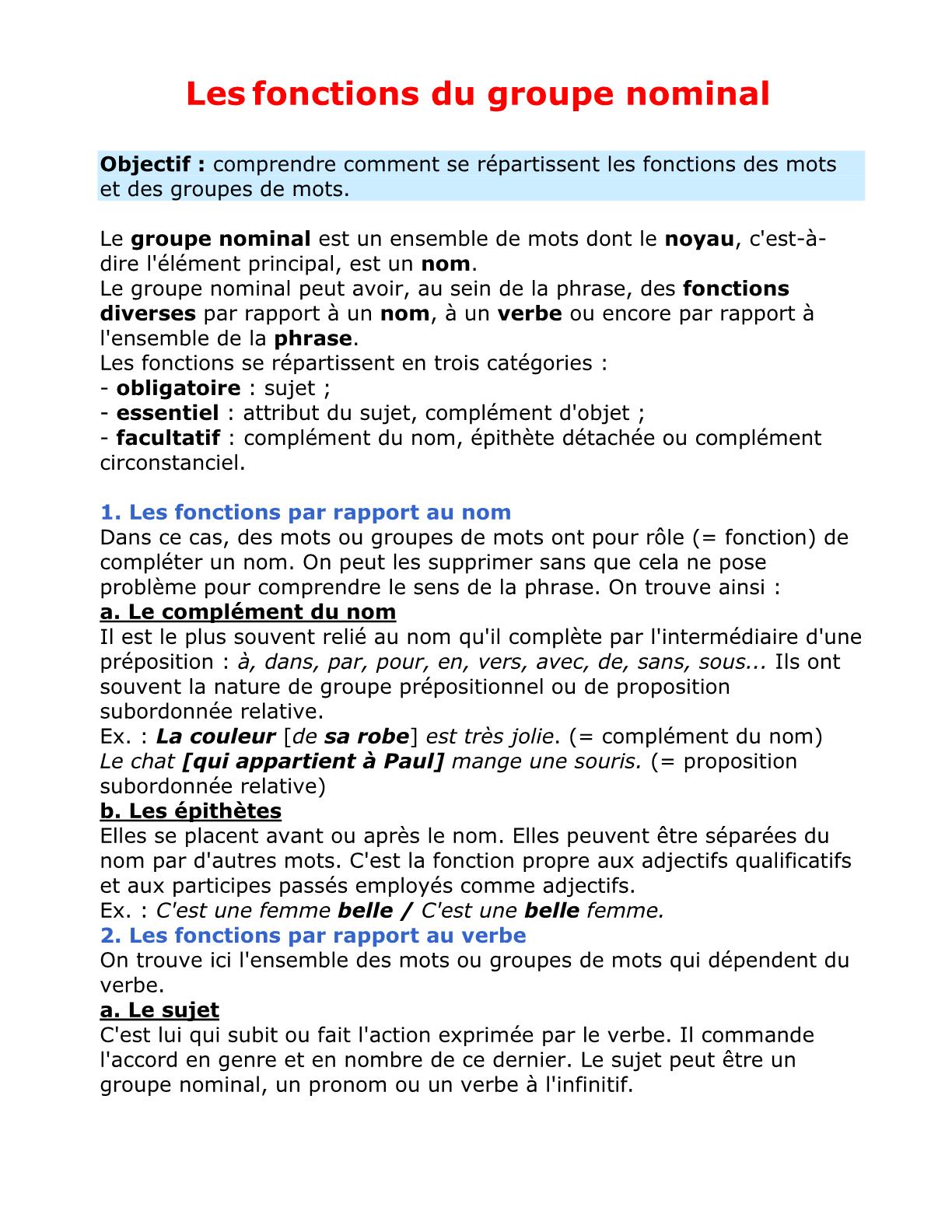 درس Les fonctions du groupe nominal للسنة الأولى إعدادي