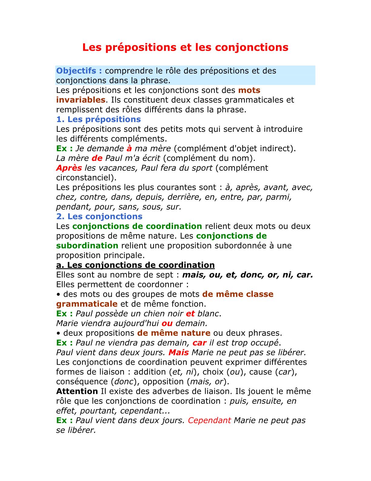 درس Les prépositions et les conjonctions للسنة الأولى إعدادي