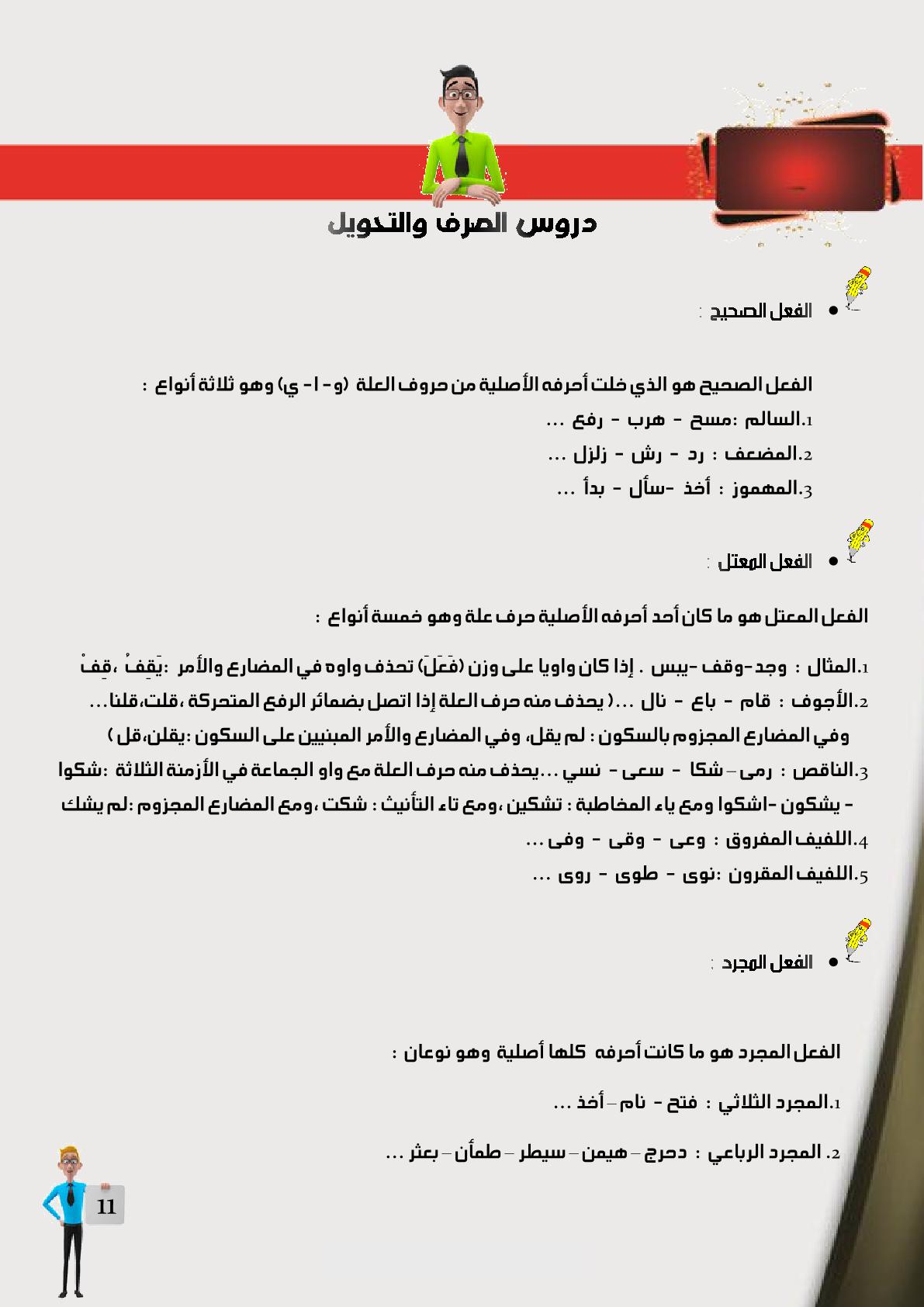 دروس الصرف والتحويل بمادة اللغة العربية للمستوى السادس ابتدائي