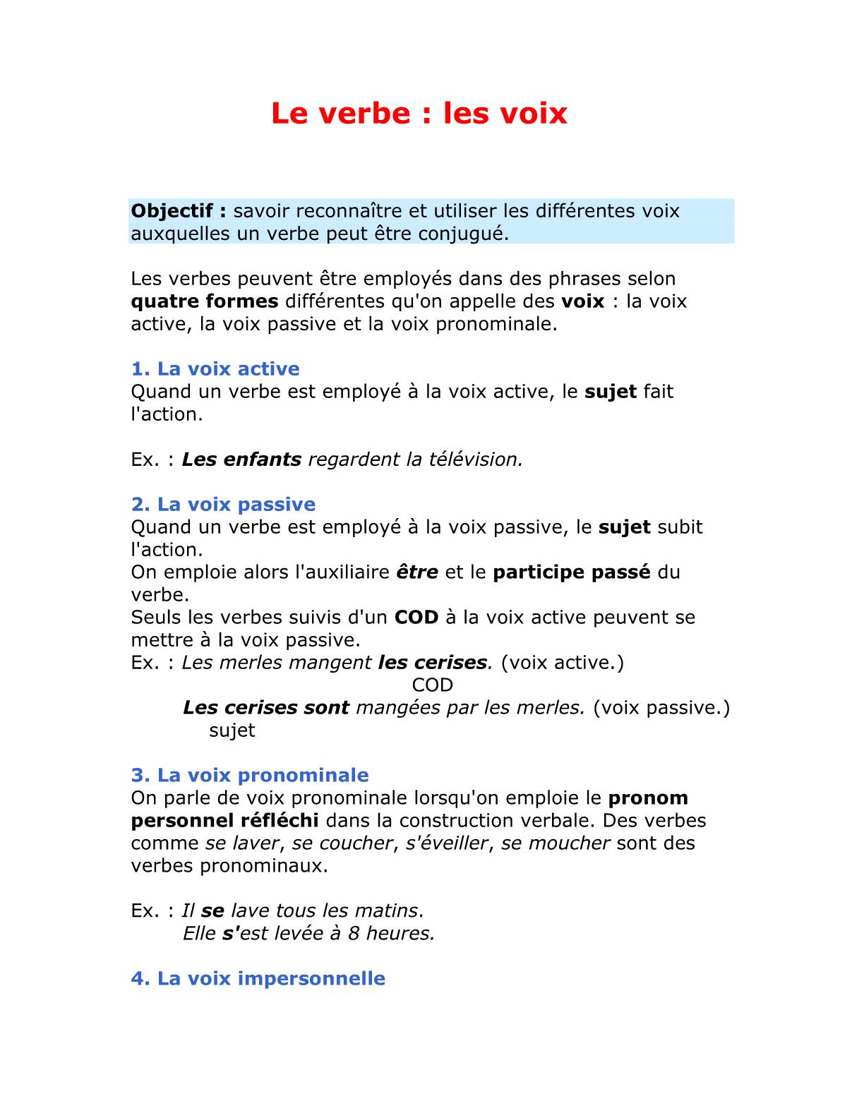 le verbe : les voix للسنة الأولى إعدادي