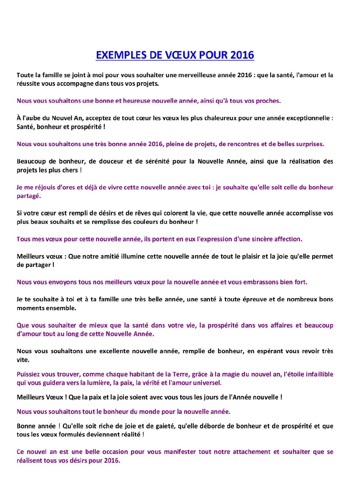 Exemples de Lettres de Voeux