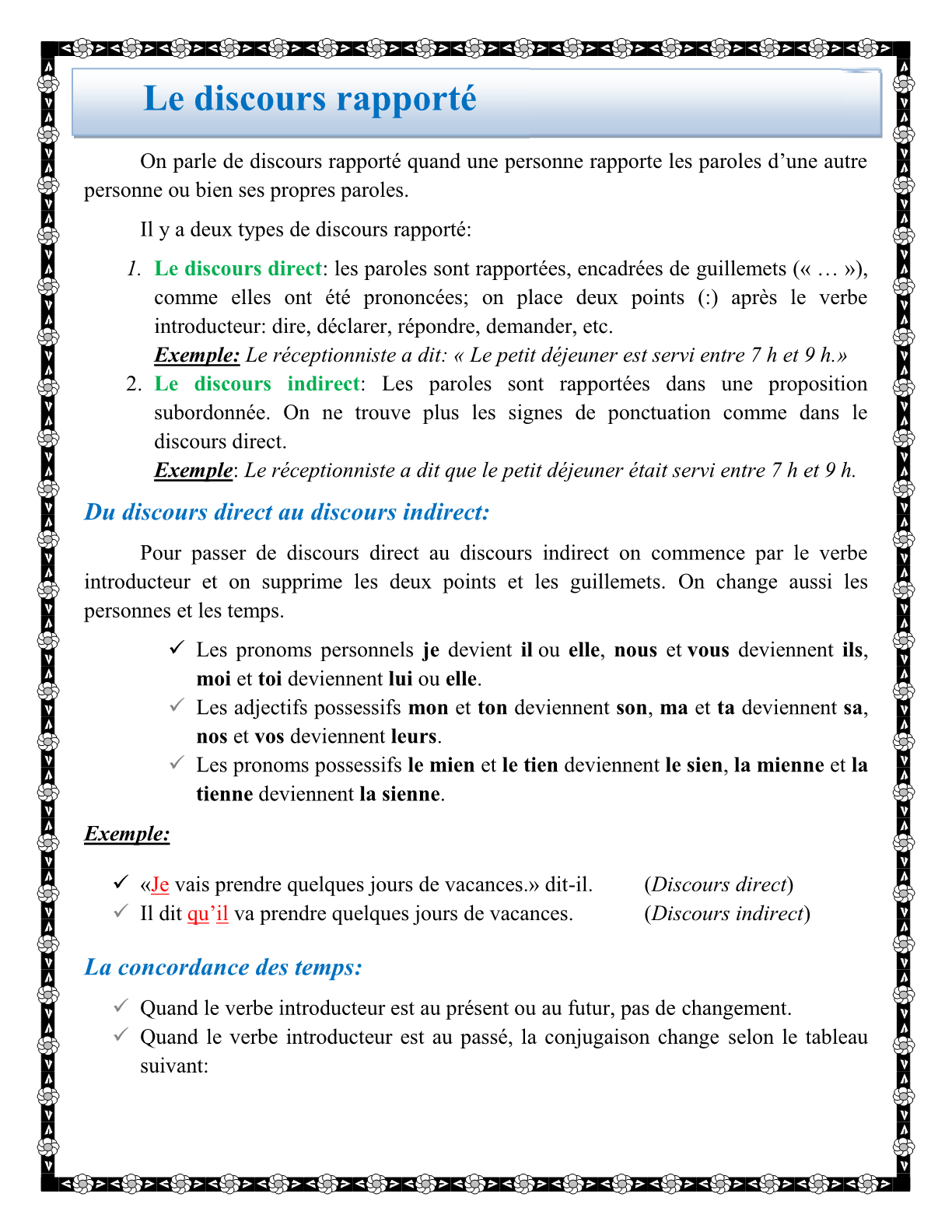 درس Le Discours Rapporté الثانية اعدادي