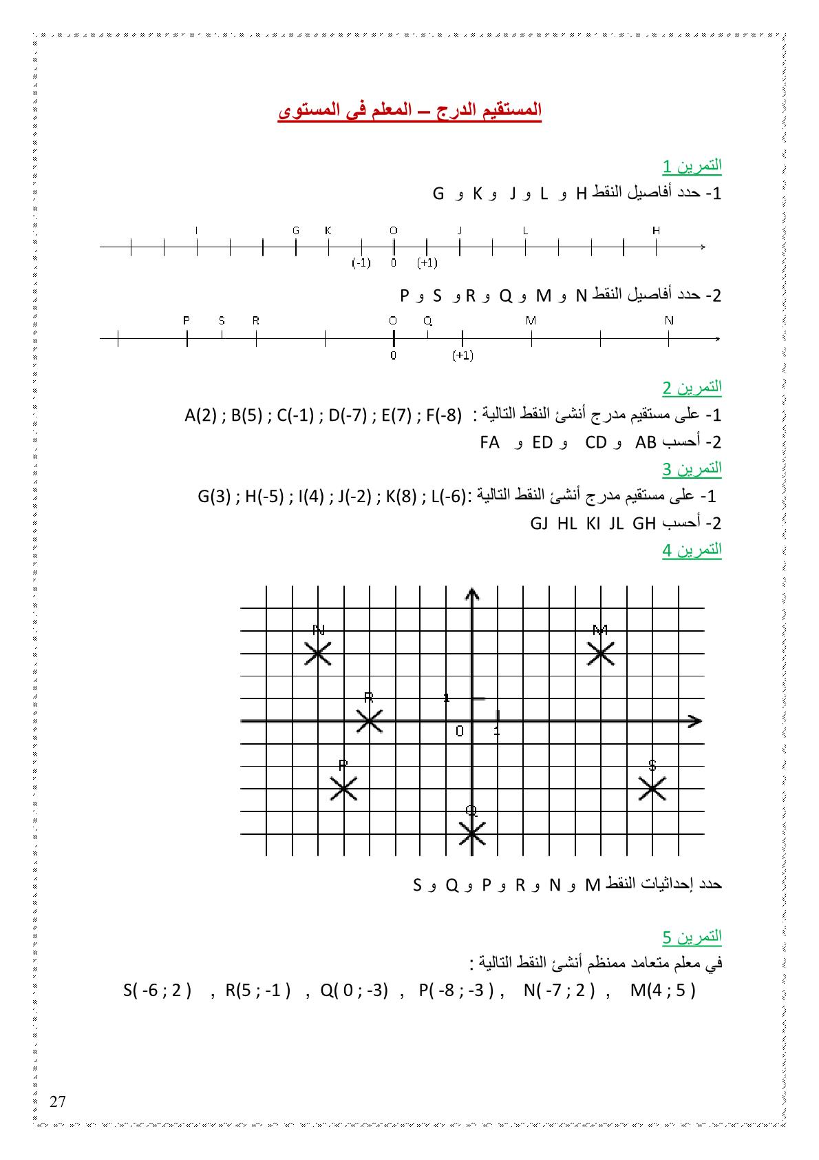 تمارين المستقيم الدرج - المعلم في المستوى مادة الرياضيات للسنة الاولى اعدادي