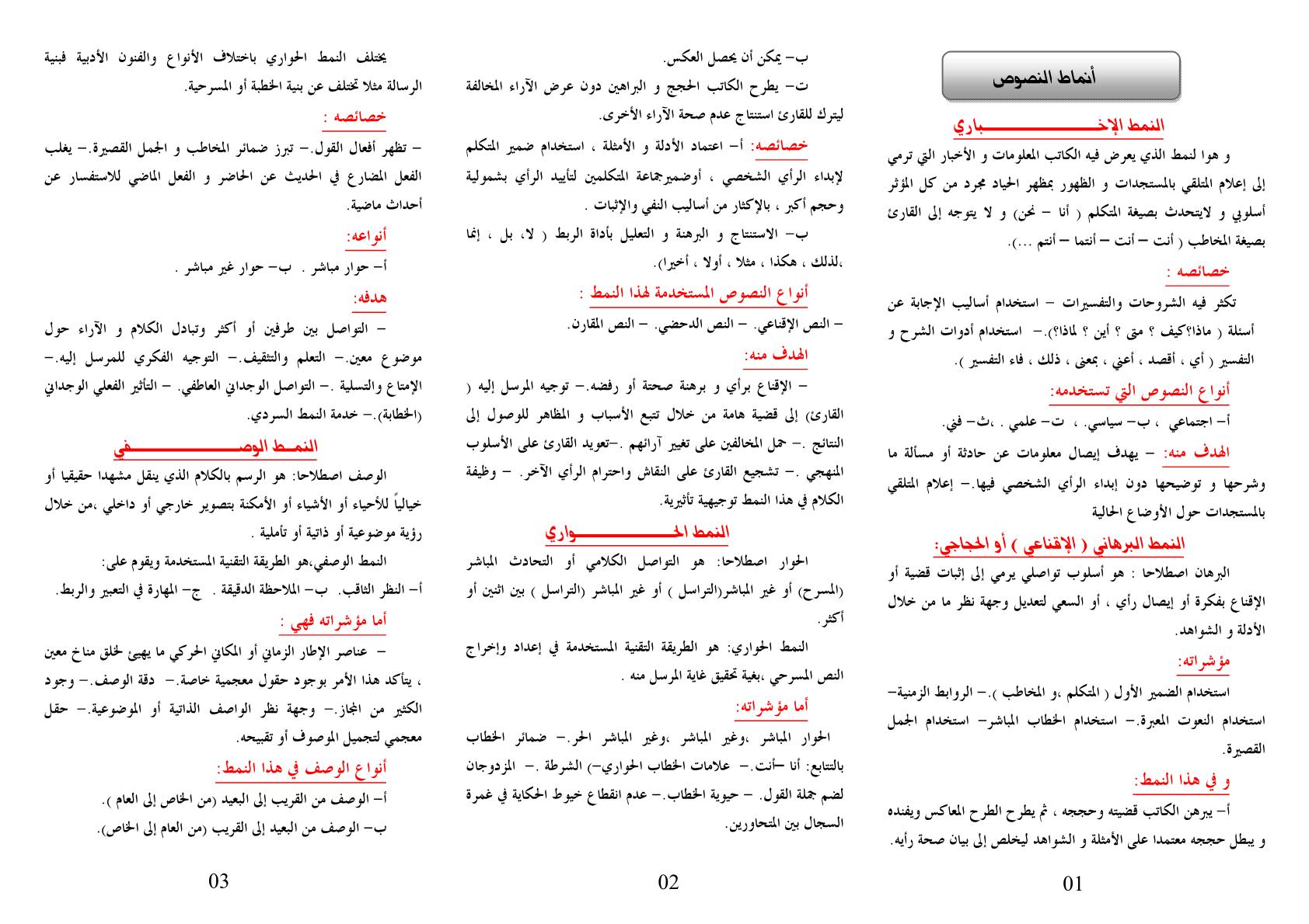 درس أنماط النصوص العربية جدع مشترك اداب وعلوم انسانية